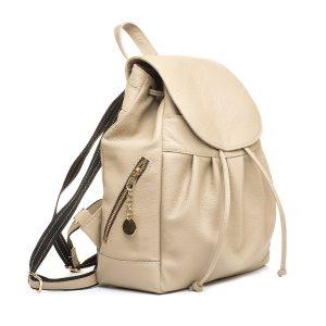 Luxusný kožený módny ruksak 8665u z prírodnej kože v slabo hnedej farbe