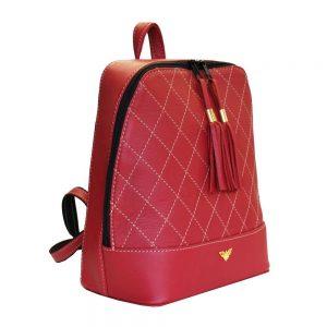 Luxusný dámsky kožený ruksak z prírodnej kože v červenej farbe