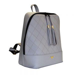 Luxusný dámsky kožený ruksak z prírodnej kože v šedej farbe