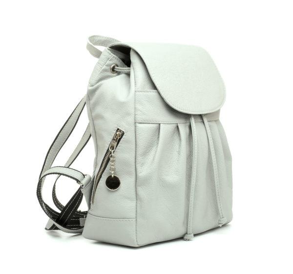 Luxusný kožený módny ruksak 8665u z prírodnej kože v šedej farbe