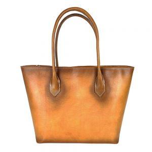 Kožená dámska kabelka SHOPPER ručne tamponovaná a tieňovaná v žltej farbe