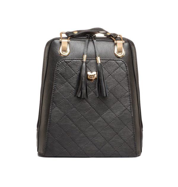 Luxusný kožený ruksak z pravej hovädzej kože č.8668 v čiernej farbe