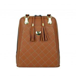 Luxusný kožený ruksak z pravej hovädzej kože č.8668 v horčicovej farbe