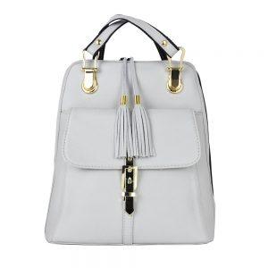 Moderný dámsky kožený ruksak 8696 z prírodnej kože v šedej farbe-