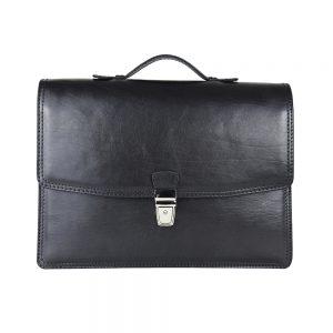 Luxusná elegantná kožená aktovka z pravej kože v čiernej farbe č.8170