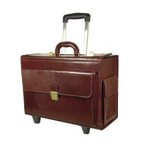 Cestovný kufor č.8174 s mechanikou v tmavo hnedej farbe