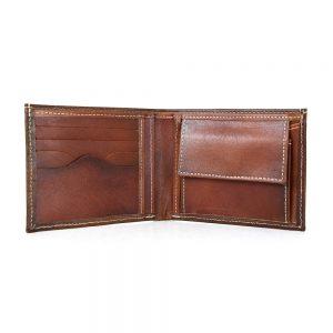 Módna peňaženka z pravej kože č.8406 v Cigaro farbe, ručne natieraná