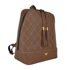 Štýlový dámsky kožený ruksak z prírodnej kože v tmavo hnedej farbe..
