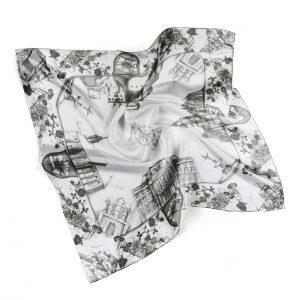 Módna hodvábna šatka SLOVENSKO BLACK & WHITE, 90 x 90cm, Ručná výroba na Slovensku