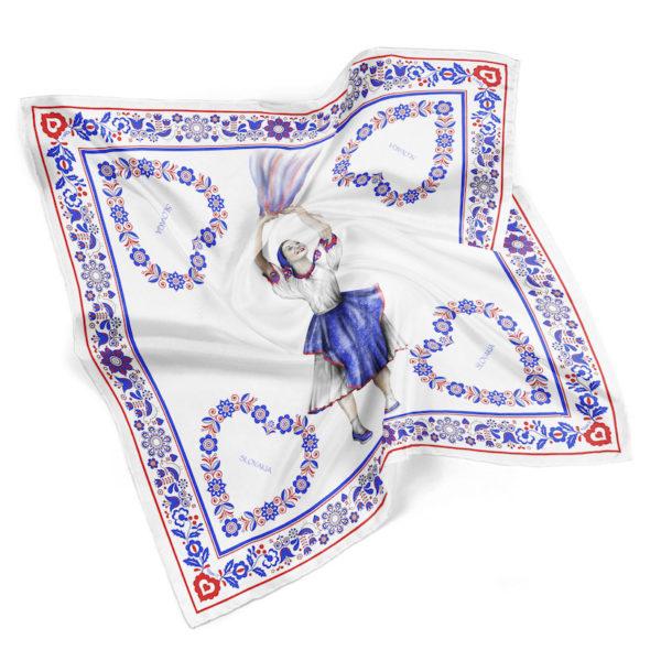 Módna hodvábna šatka TANEČNICA, 90 x 90cm, Made in SLOVAKIA