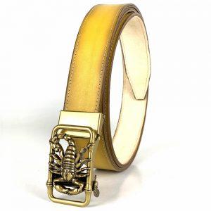 LIMITOVANÁ EDÍCIA - žltý kožený opasok s automatickým zapínaním, šírka 3.5cm, yellow_03